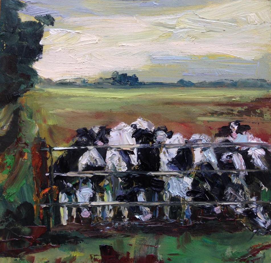 Koeien geschilderd